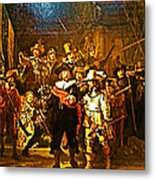 Rembrandt Painting Covered A Wall In Rijksmuseum In Amsterdam-netherlands Metal Print