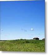 Remote Prairie Landscape With Abandoned Buildings Metal Print