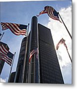 American Flags And Renaissance Center Metal Print