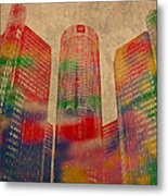 Renaissance Center Iconic Buildings Of Detroit Watercolor On Worn Canvas Series Number 2 Metal Print
