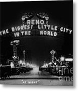 Reno Nevada The Biggest Little City In The World. The Arch Spans Virginia Street Circa 1936 Metal Print