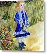 Renoir Girl With Watering Can In Watercolor Metal Print
