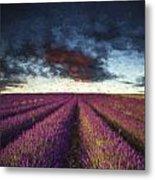 Renoir Style Digital Painting Vibrant Summer Sunset Over Lavender Field Landscape Metal Print