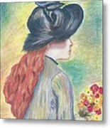 Renoirs' Painting Of Girl Holding A Bouquet In Pastels Metal Print