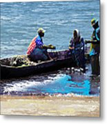 Repairing The Net At Lake Victoria Metal Print