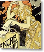 Reproduction Of A Poster Advertising 'marquet Ink' Metal Print by Eugene Grasset