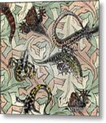 Reptiles - Inspired By Escher - Elena Yakubovich Metal Print