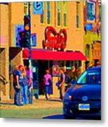Restaurant Amir Internet Cafe Fast Food Plateau Montreal City Street Scene Art Carole Spandau  Metal Print