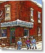 Restaurant Epicerie Jean Guy Pointe St. Charles Montreal Art Verdun Winter Scenes Hockey Paintings   Metal Print