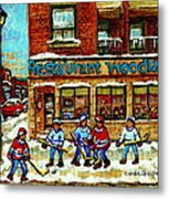 Restaurant Woodland Pizza Rue Wellington Verdun Original Hockey Art Montreal Paintings Commissions   Metal Print