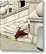Resting On The Steps Of City Hall Metal Print