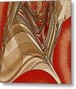 Resting Woman - Portrait In Red Metal Print