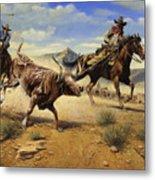 Restraint 2 Cowboys Roping A Steer Metal Print