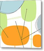 Retro Abstract In Orange And Green Metal Print by Karyn Lewis Bonfiglio
