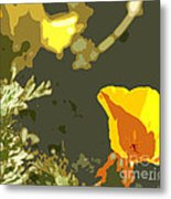 Retro Abstract Poppies 4 Metal Print by Artist and Photographer Laura Wrede