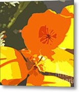 Retro Abstract Poppies Metal Print