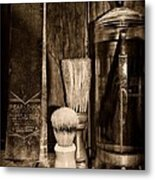 Retro Barber Tools In Black And White Metal Print