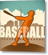 Retro Baseball Poster. Vector Metal Print