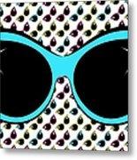 Retro Blue Cat Sunglasses Metal Print