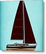 Retro Blue Sailing Metal Print