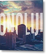 Retro Filtered Honolulu With Text Metal Print