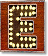Retro Marquee Lighted Letter E Metal Print