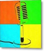 Retro Microphone Pop Art 2 Metal Print