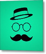 Retro Minimal Vintage Face With Moustache And Glasses Metal Print