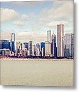 Retro Panorama Chicago Skyline Picture Metal Print