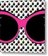 Retro Pink Cat Sunglasses Metal Print