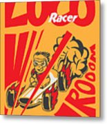 Retro Poster Cartoon Vintage Race Car Metal Print