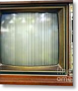 Retro Style Television Set With Bad Picture Metal Print