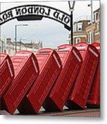 Retro Telephone Boxes Metal Print