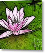 Retro Water Lilly Metal Print by Bob Christopher