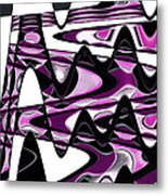 Retro Waves Abstract - Pink Metal Print