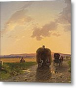 Return From The Field In The Evening Glow Metal Print