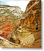 Return Trip On Hidden Canyon Trail In Zion National Park-utah Metal Print