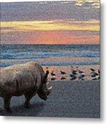 Rhino Beach Metal Print