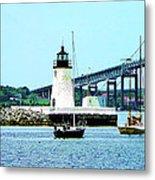 Rhode Island - Lighthouse Bridge And Boats Newport Ri Metal Print