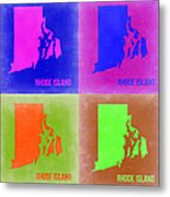 Rhode Island Pop Art Map 2 Metal Print