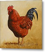 Rhode Island Red Rooster Metal Print by Crista Forest