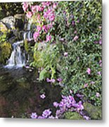 Rhododendron Flowers By Waterfall Metal Print