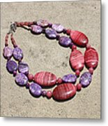 Rhodonite And Crazy Lace Agate Double Strand Chunky Necklace 3636 Metal Print