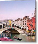 Rialto Bridge At Sunset - Venice Metal Print