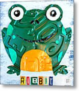 Ribbit The Frog License Plate Art Metal Print
