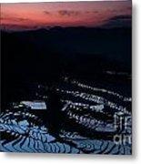 Rice Terrace After Sunset Metal Print
