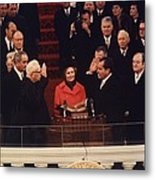 Richard Nixon Taking The Oath Of Office Metal Print