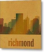 Richmond Virginia City Skyline Watercolor On Parchment Metal Print