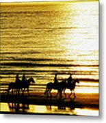 Rider Silhouettes Against The Sea Metal Print