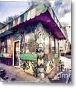 Riding High Skateboard Shop Watercolor Metal Print